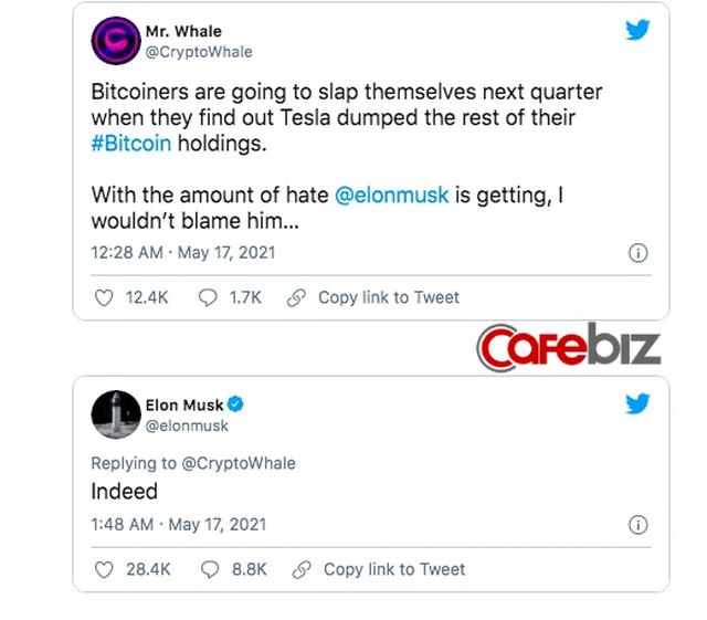 Nhà đầu tư bất lực nhìn Elon Musk tiếp tục thao túng thị trường: Tweet ám chỉ Tesla đã bán hết Bitcoin, giá đồng tiền số chạm đáy - Ảnh 3.