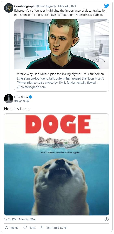 Cha đẻ ETH đăng đàn chỉ trích DogeCoin, Elon Musk lập tức phản pháo: Đồ sợ chó - Ảnh 2.