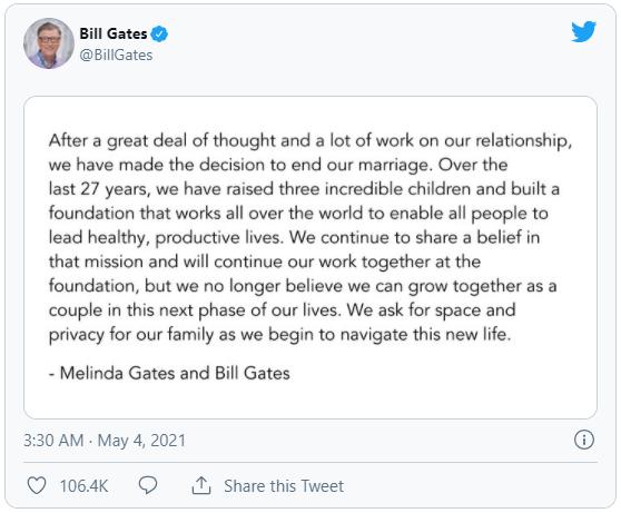Sau 27 năm chung sống, vợ chồng Bill Gates bất ngờ li dị - Ảnh 1.