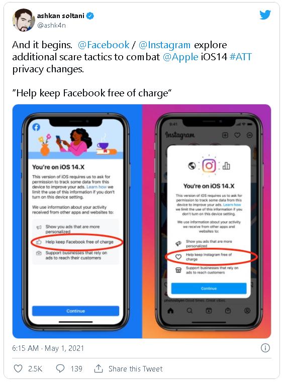 """Facebook và Instagram thông báo cho người dùng biết việc theo dõi là để giúp các dịch vụ này """"miễn phí"""" - Ảnh 2."""
