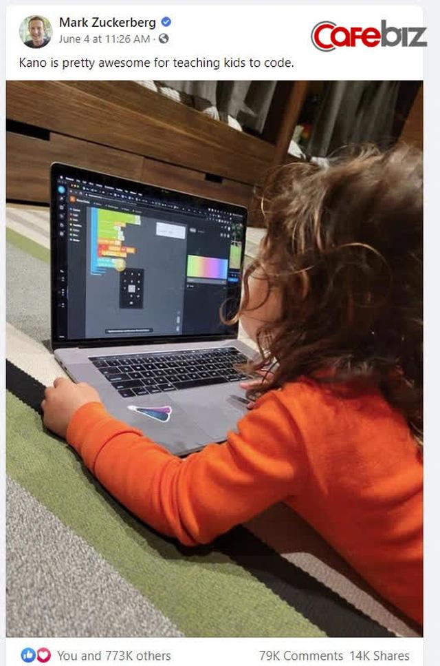 Mark Zuckerberg khoe con gái 5 tuổi học lập trình, cộng đồng mạng tấm tắc 'chắc cô bé sắp xây Facebook phiên bản thứ 2' - Ảnh 1.