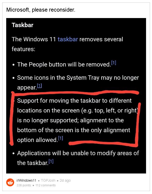 Người dùng phản đối việc không thể thay đổi vị trí thanh Taskbar của Windows 11, cầu xin Microsoft xem xét lại - Ảnh 3.