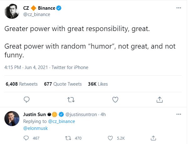 Nóng mắt vì dòng tweet dìm giá Bitcoin, CEO sàn Binance nhắn nhủ Elon Musk: Làm người khác mất tiền không vui chút nào, đó là vô trách nhiệm - Ảnh 1.