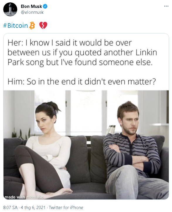 """Elon Musk đăng dòng tweet ám chỉ """"chia tay"""" với Bitcoin - Ảnh 2."""