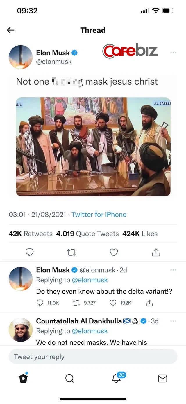Elon Musk gây bão mạng xã hội khi tweet chê Taliban không đeo khẩu trang - Ảnh 2.