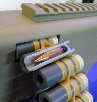 Đạn lồng LSAT bao gồm đầu đạn, cáp-xun, liều phóng và vỏ đạn plasti