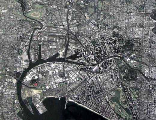 Toàn cảnh Thành phố Melbourne, Australia, do vệ tinh VNREDSat-1 chụp ngày 9/5 (chụp từ màn hình)