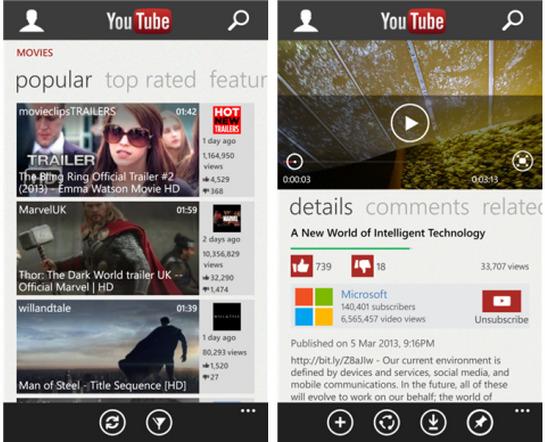 Ứng dụng YouTube do Microsoft phát triển cho nền tảng Windows Phone - Ảnh: TechHive