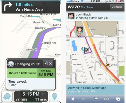 Giao diện làm việc của ứng dụng bản đồ Waze trên thiết bị di động - Ảnh: Waze
