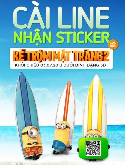 """Từ 16/7 người dùng Việt được tặng miễn phí stickers """"Despicable me 2""""."""
