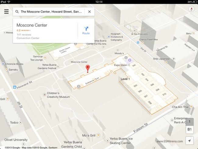 Giao diện mới của Google Maps trên iPad.