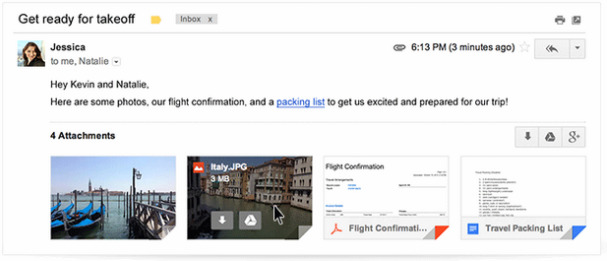 Khi rê con trỏ trên file đính kèm, người dùng Gmail sẽ thấy các tùy chọn tải file về máy hoặc lưu thẳng vào Google Drive.