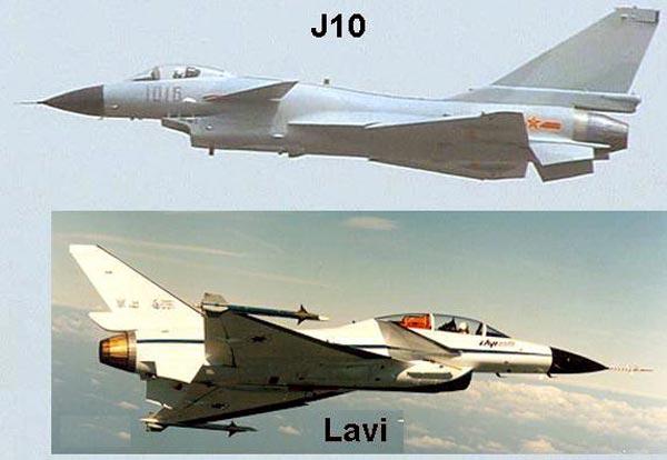 Tiêm kích J-10 ở trên và bản thiết kế tiêm kích Lavi của Israel của Israel.