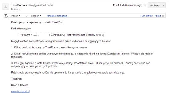 Đăng ký bản quyền 180 ngày TrustPort Internet Security 2013