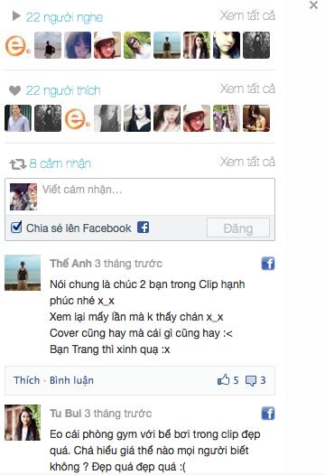 Caption khi chia sẻ trên facebook được đưa vào phần cảm nhận trên website.