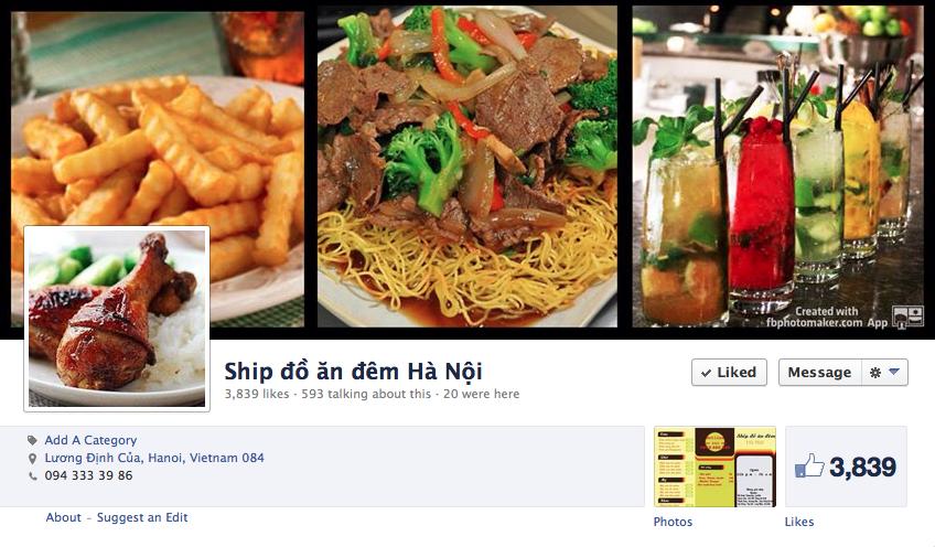 Fanpage dịch vụ ship đồ ăn đêm mà Quỳnh quản lý.