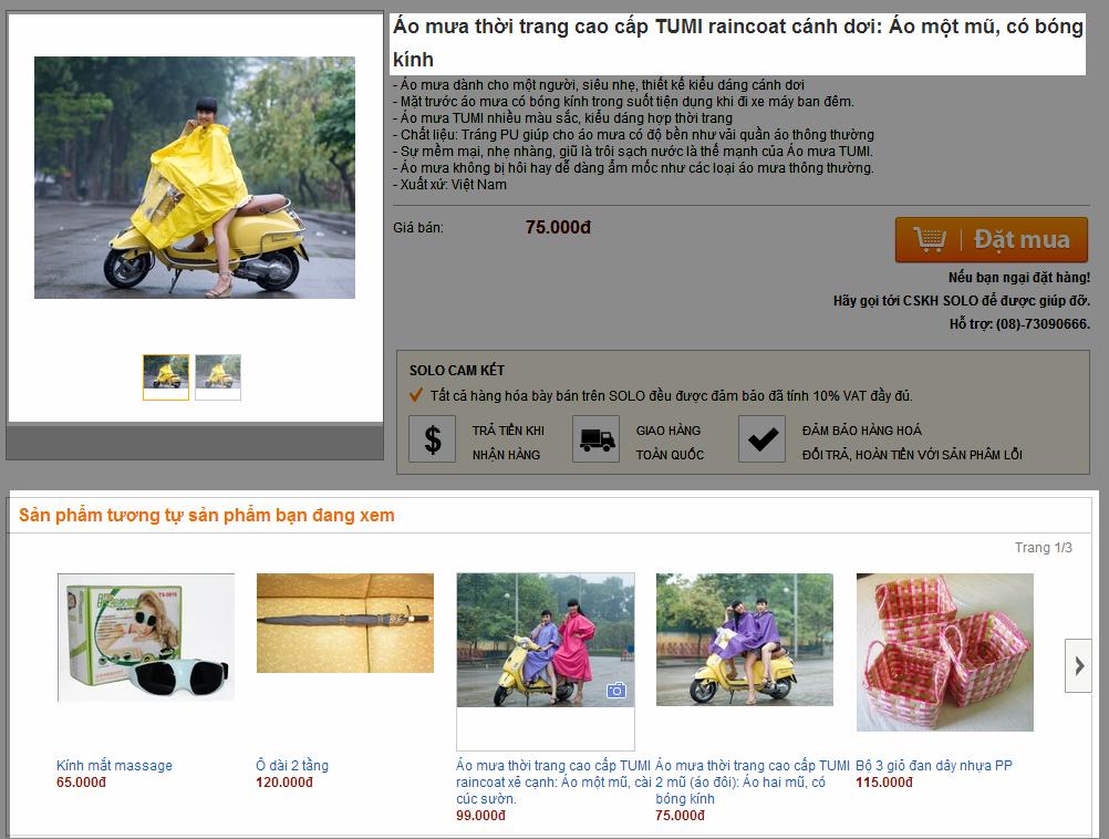 Một kiểu khuyến nghị mua của một trang web thương mại điện tử trong nước