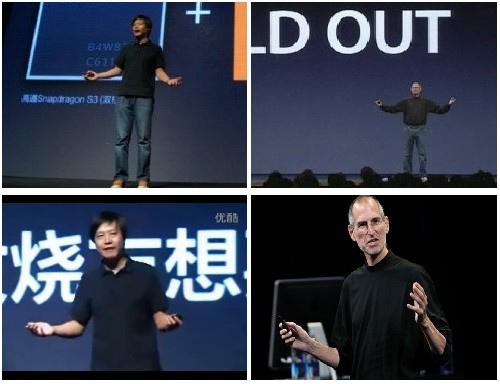 CEO Xiaomi (trái) có phong cách ăn mặc và thuyết trình khá giống Steve Jobs.