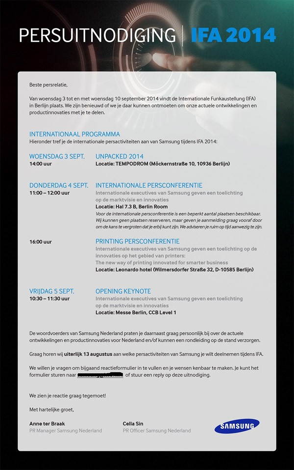 Samsung gửi thư mời sự kiện 3/09, Galaxy Note 4 có thể trình làng