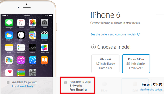 Apple iPhone 6 Plus is now on back order