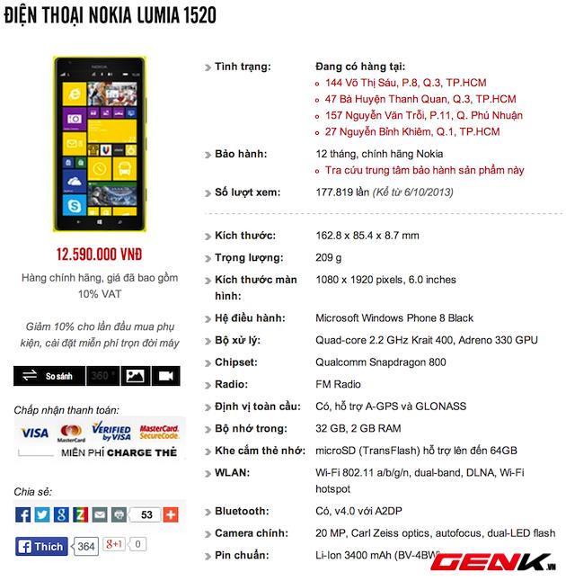 Lumia 1520 và Lumia 925 chính hãng bất ngờ giảm giá nhẹ tại Việt Nam