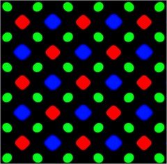 Samsungs diamond pixel matrix used in its AMOLED displays, notice there are 2 green sub-pixels and only one red and blue.