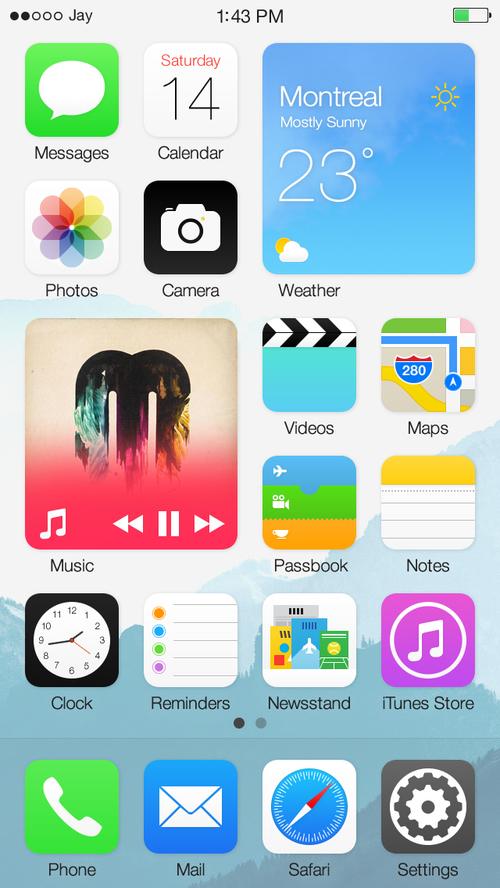 Ý tưởng thiết kế iOS 8 kết hợp cùng Widget và Live Tile