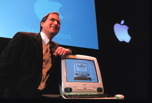 Jobs' first major assignment for Ive was the iMac, pictured below with Jobs.