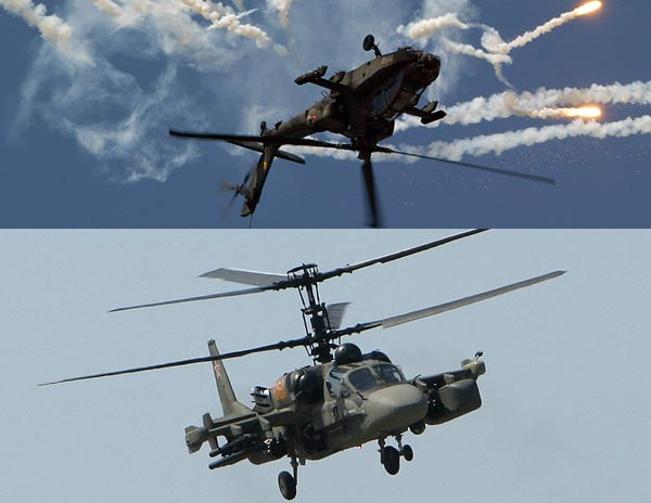 AH-64 Apache(ở trên) có thiết kế tiêu chuẩn dành cho trực thăng, trong khi Ka-50/52(ở dưới) có thiết kế rotor đồng trục.