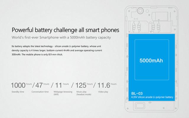 """Smartphone """"pin trâu"""" 5.000 mAh chuẩn bị ra mắt"""