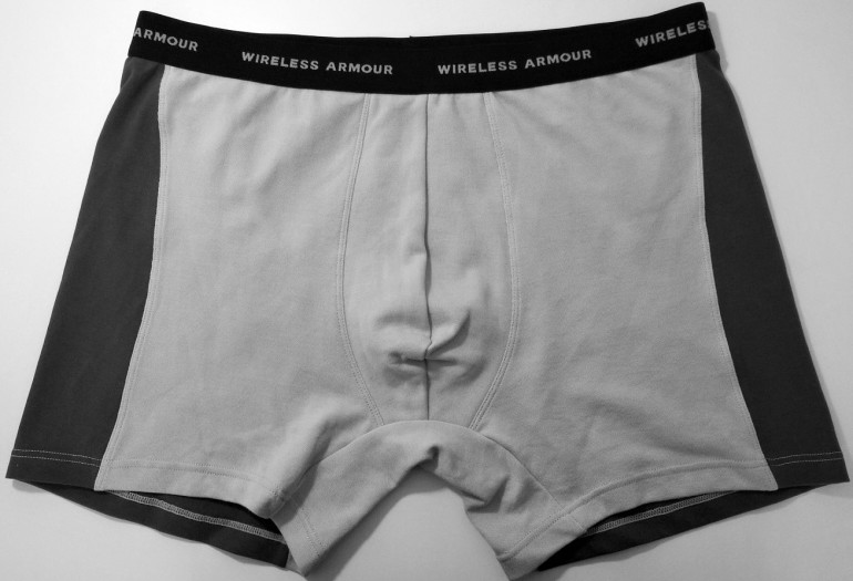 Wireless Armour underwear protects your valuables by encasing them in a silver-mesh fabric