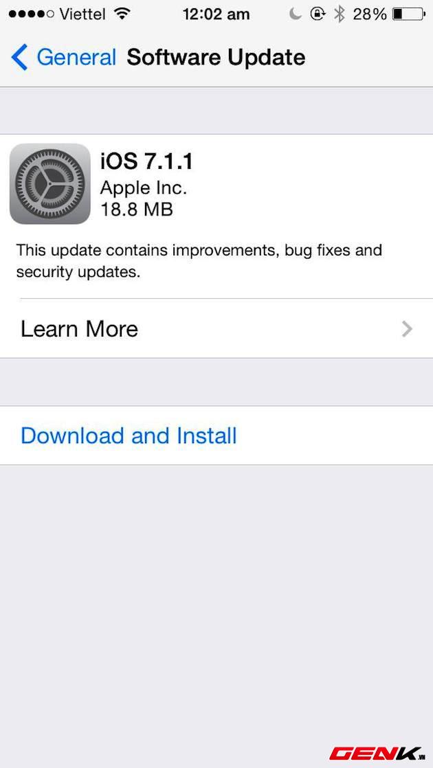 Apple tung bản cập nhật iOS 7.1.1, cải thiện Touch ID và sửa lỗi