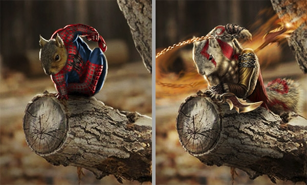 Spiderman và Kratos.