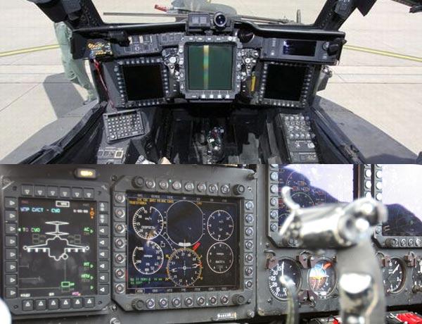 Một phần buồng lái của AH-64(ở trên) và Ka-50/52(ở dưới). Cả hai loại trực thăng này đều được trang bị hệ thống điện tử hàng không số hóa nhưng AH-64 có lợi thế hơn về hệ thống tìm kiếm và chỉ thị mục tiêu.
