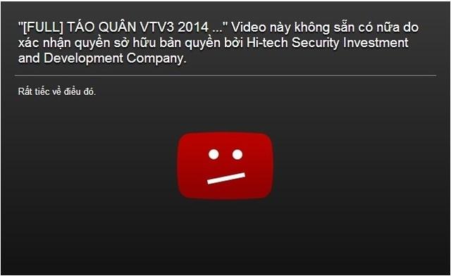 Hiện tại, những clip Táo quân 2014 đã bị gỡ bỏ khỏi Youtube.