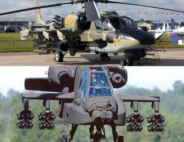 Ka-50/52(ở trên) có lợi thế hơn AH-64(ở dưới) về tải trọng vũ khí.