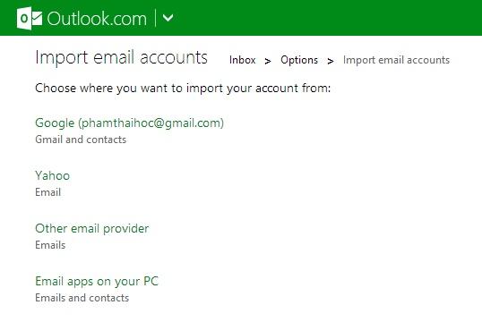 Làm thế nào để kết nối Yahoo Mail vào Outlook.com?
