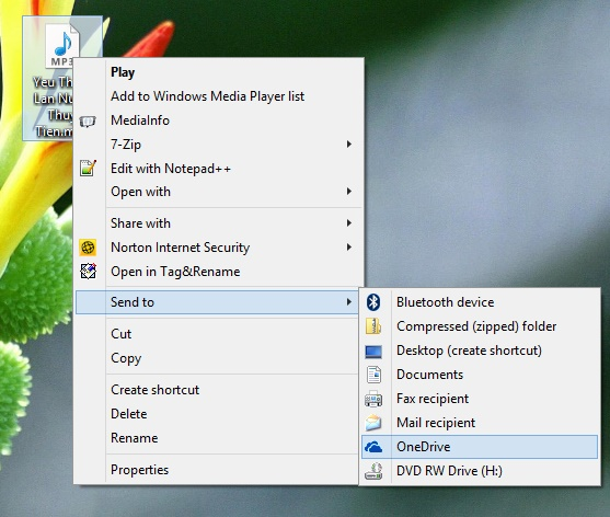 Thêm lựa chọn OneDrive vào lệnh Send To trên Windows 7/8.1