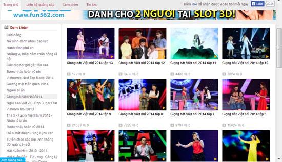 Chương trình The Voice của VTV bị các trang mạng đăng tràn lan. Ảnh chụp sáng 16/9.
