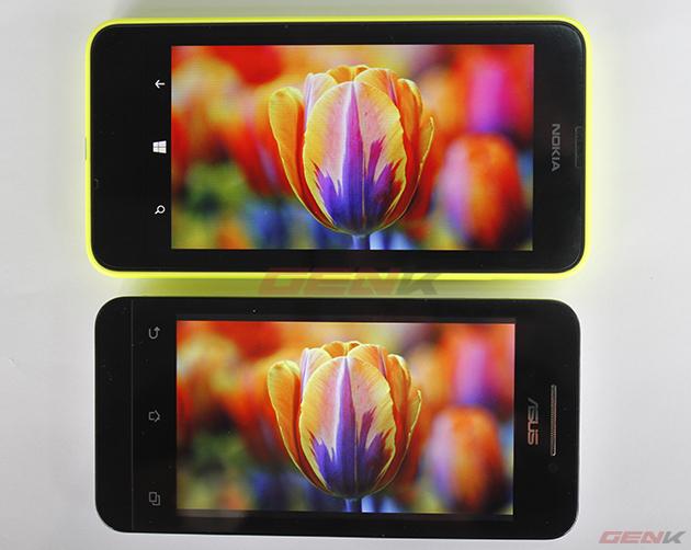 Màn hình Asus Zenfone 4 (800 x 480 pixel) so với màn hình Nokia Lumia 630 (854x480 pixel).