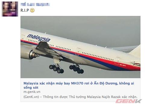 Mạng xã hội ngập tràn lời chia buồn từ cộng đồng gửi tới nạn nhân máy bay MH370