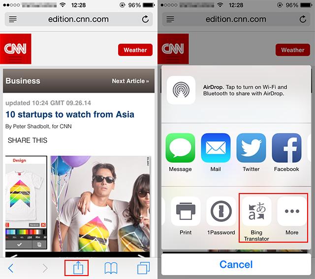 iOS 8: Làm thế nào để dịch toàn bộ trang web trong Safari