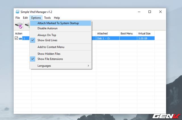 Trường hợp nếu bạn muốn đính kèm VHD và hiển thị nó trong File Explorer mỗi khi hệ thống khởi động, bạn hãy đánh dấu vào nó và chọn Options > Add Marked to System Startup.