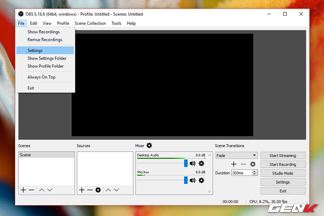 Sau khi hoàn thành việc cài đặt, bạn hãy khởi động OBS Studio và truy cập vào File > Settings.