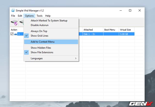 Ngoài ra bạn cũng có thể thêm tùy chọn Mount vào menu chuột phải bằng cách truy cập vào Options > Add to Context Menu.