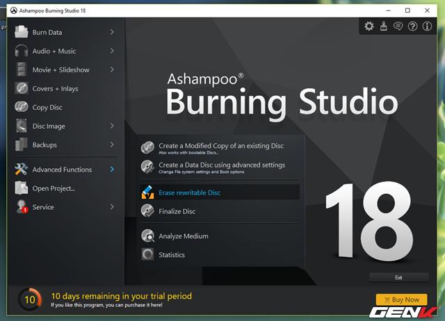 """Thêm vào đó Ashampoo Burning Studio còn cung cấp cho người dùng những tính năng khá hay khác như """"nhân bản"""" CD/DVD/ Blu-ray, sao lưu dữ liệu hệ thống, xóa các dữ liệu trên CD/DVD/ Blu-ray,… Tất cả điều mang lại kết quả rất tốt và giao diện thao tác rất dễ nắm bắt."""