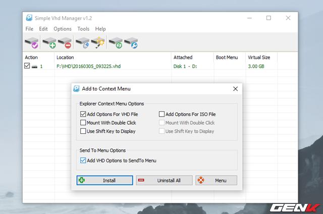 """Hộp thoại lựa chọn xuất hiện, bạn hãy đánh dấu vào tùy chọn """"Add Options for VHD File"""" và nhấn """"Install"""". Nếu bạn cũng muốn thêm VHD vào tùy chọn """"SendTo"""" của menu chuột phải, bạn chỉ việc đánh dấu thêm vào tùy chọn """"Add VHD Options to SendTo Menu"""". Trường hợp muốn loại bỏ chúng, chỉ việc nhấn vào """"Uninstall All""""."""