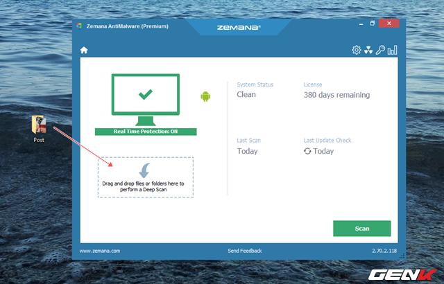 """Bên cạnh việc thiết lập quét hệ thống theo mặc định, người dùng còn có thể chủ động yêu cầu Zemana AntiMalware tiến hành quét và kiểm tra tính an toàn của tập tin hoặc thư mục bằng cách kéo và thả dữ liệu đó vào phần """"Deep Scan""""."""