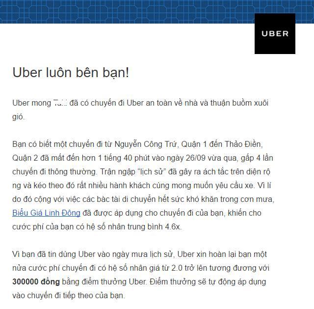 Thông báo hoàn tiền từ Uber tới một người dùng bị tăng giá tại TP. HCM