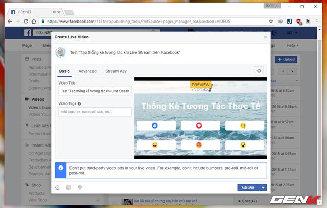 """Quay trở lại cửa sổ Create Live Video, bây giờ bạn sẽ thấy nội dung Stream của mình đã sẳn sàng. Lúc này bạn chỉ còn việc nhấn vào """"Go Live"""" để đăng."""